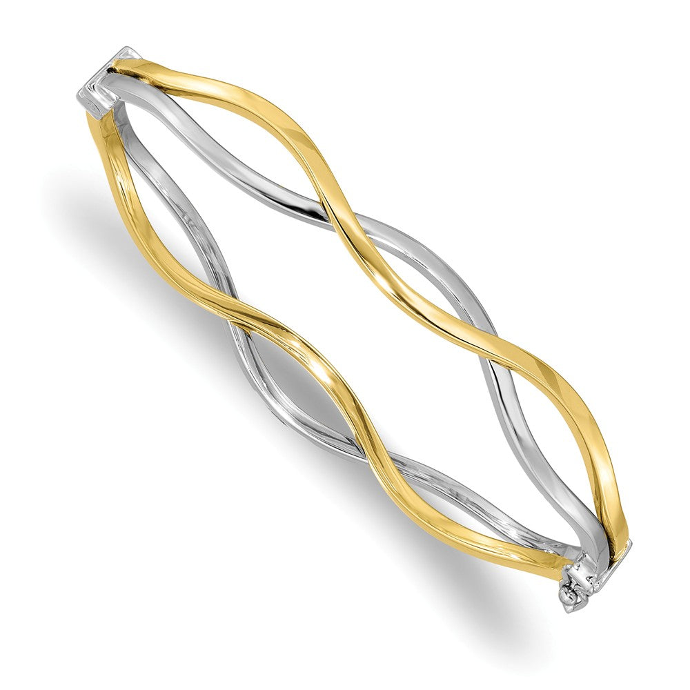 10k Yellow Gold & White Rhodium 10mm Twisted Bangle Bracelet, Item B13531 by The Black Bow Jewelry Co.