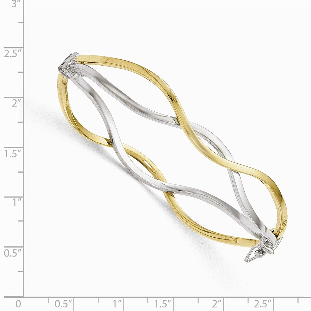 Alternate view of the 10k Yellow Gold & White Rhodium 10mm Twisted Bangle Bracelet by The Black Bow Jewelry Co.