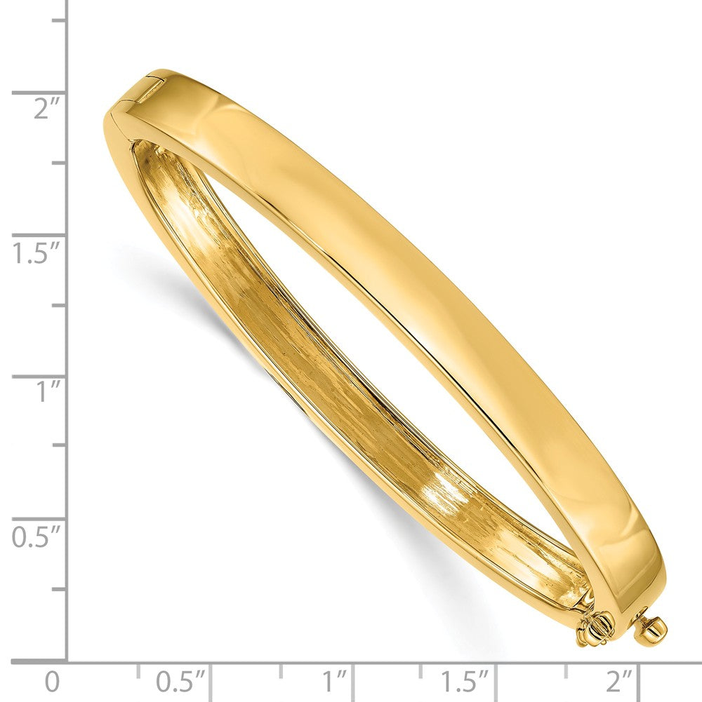 Alternate view of the 6.3mm 14k Yellow Gold Polished Solid Open Back Hinged Bangle Bracelet by The Black Bow Jewelry Co.