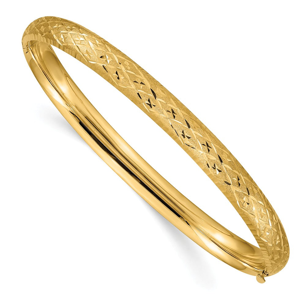 6.5mm, 14k Yellow Gold, Diamond Cut Fancy Hinged Bangle Bracelet, Item B13569 by The Black Bow Jewelry Co.