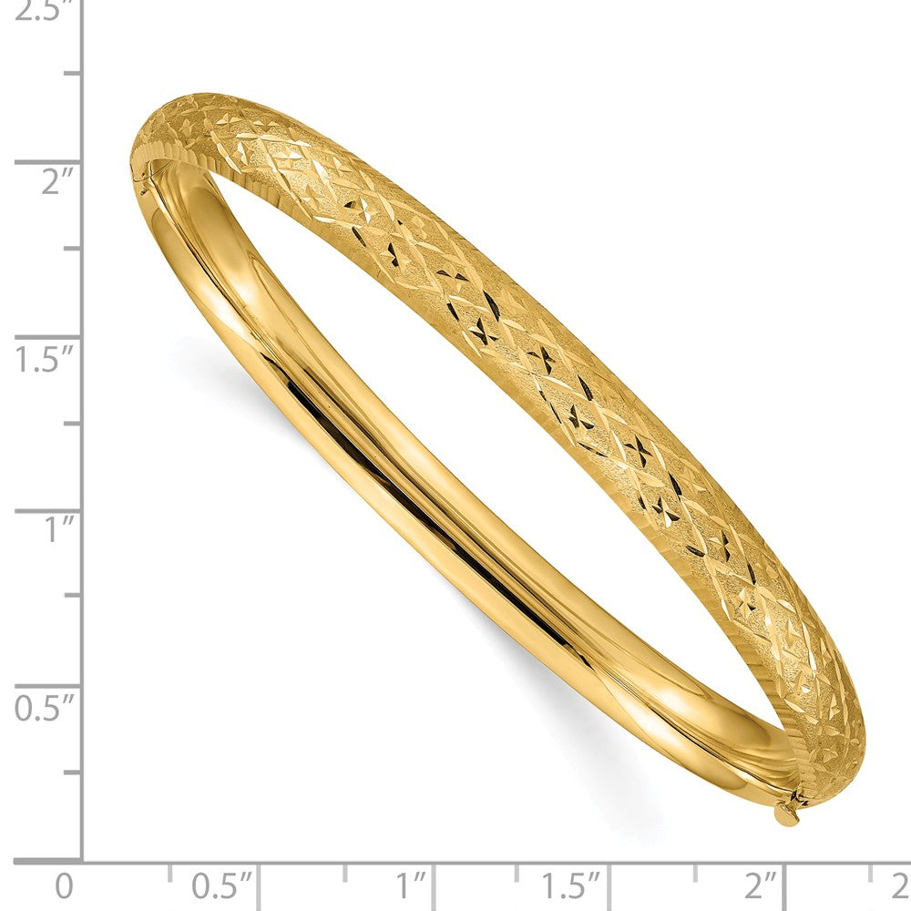 Alternate view of the 6.5mm, 14k Yellow Gold, Diamond Cut Fancy Hinged Bangle Bracelet by The Black Bow Jewelry Co.