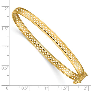 Alternate view of the 4.75mm 14k Yellow Gold Cutout Open Back Hinged Bangle Bracelet by The Black Bow Jewelry Co.
