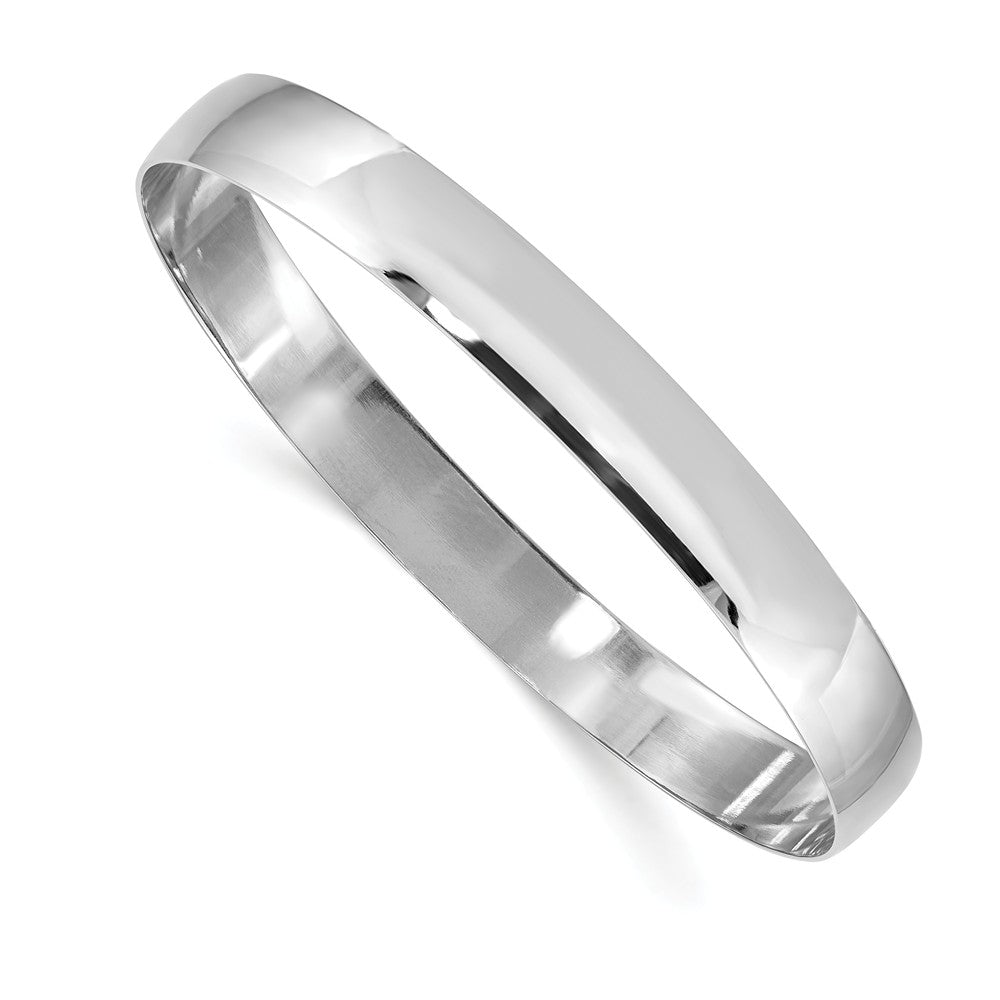 8mm 14k White Gold Solid Polished Half-Round Slip-On Bangle Bracelet, Item B13610 by The Black Bow Jewelry Co.