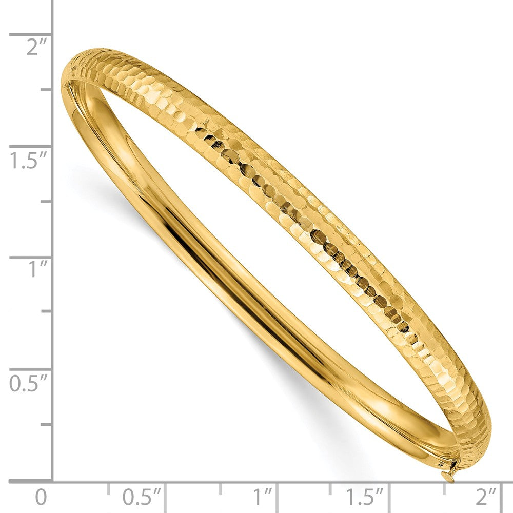 Alternate view of the 4.75mm 14k Yellow Gold Hammered Domed Hinged Bangle Bracelet by The Black Bow Jewelry Co.