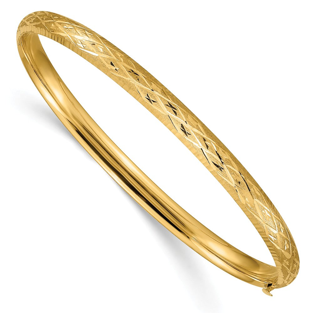 4.75mm 14k Yellow Gold Diamond Cut Fancy Hinged Bangle Bracelet, Item B13620 by The Black Bow Jewelry Co.