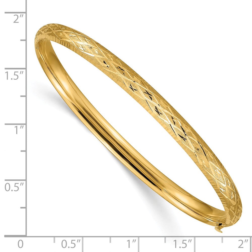 Alternate view of the 4.75mm 14k Yellow Gold Diamond Cut Fancy Hinged Bangle Bracelet by The Black Bow Jewelry Co.