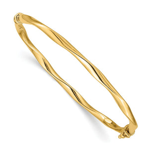 4mm 14k Yellow Gold Twisted Tube Hinged Bangle Bracelet - The Black Bow Jewelry Co.