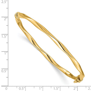 Alternate view of the 4mm 14k Yellow Gold Twisted Tube Hinged Bangle Bracelet by The Black Bow Jewelry Co.