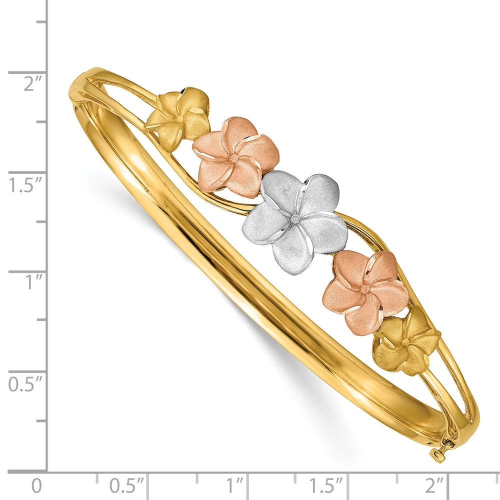 Alternate view of the 14k Tri-Color Gold Polished and Satin Plumeria Hinged Bangle Bracelet by The Black Bow Jewelry Co.