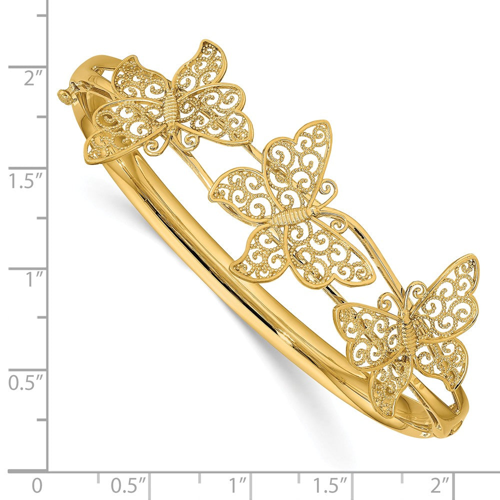 Alternate view of the 14k Yellow Gold Filigree Butterfly Hinged Bangle Bracelet by The Black Bow Jewelry Co.