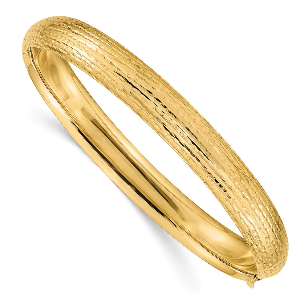 8.75mm 14k Yellow Gold Diamond Cut Fancy Hinged Bangle Bracelet, Item B13630 by The Black Bow Jewelry Co.