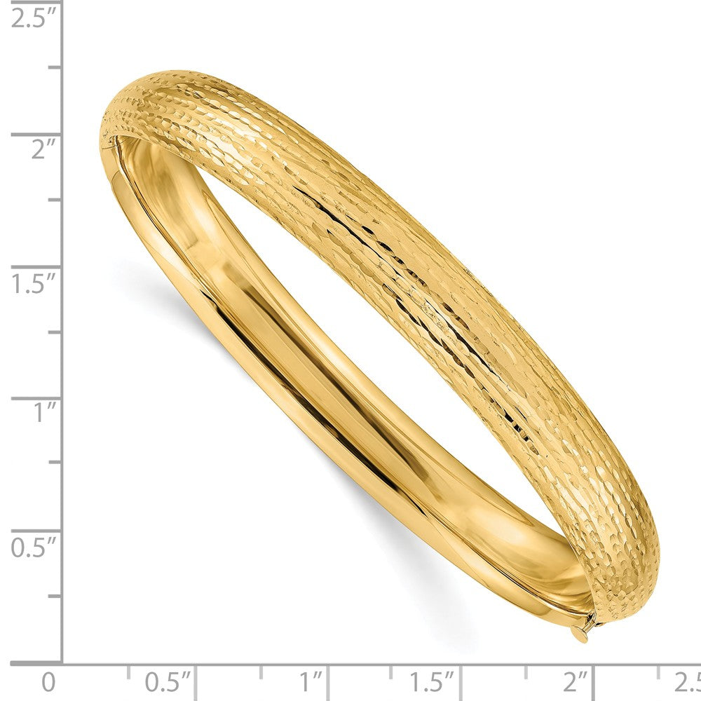 Alternate view of the 8.75mm 14k Yellow Gold Diamond Cut Fancy Hinged Bangle Bracelet by The Black Bow Jewelry Co.