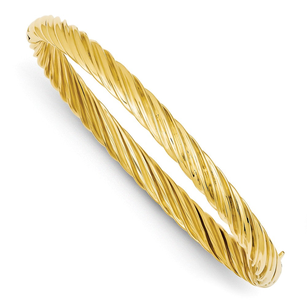 5.5mm 14k Yellow Gold Fancy Swirl Hinged Bangle Bracelet , 8 Inch, Item B13633 by The Black Bow Jewelry Co.