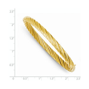 Alternate view of the 5.5mm 14k Yellow Gold Fancy Swirl Hinged Bangle Bracelet , 8 Inch by The Black Bow Jewelry Co.
