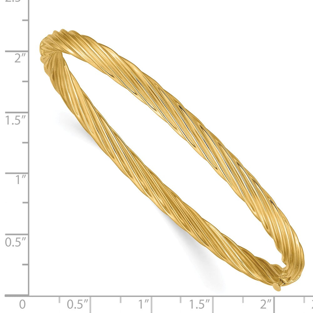 Alternate view of the 4.5mm 14k Yellow Gold Fancy Swirl Hinged Bangle Bracelet , 7 Inch by The Black Bow Jewelry Co.