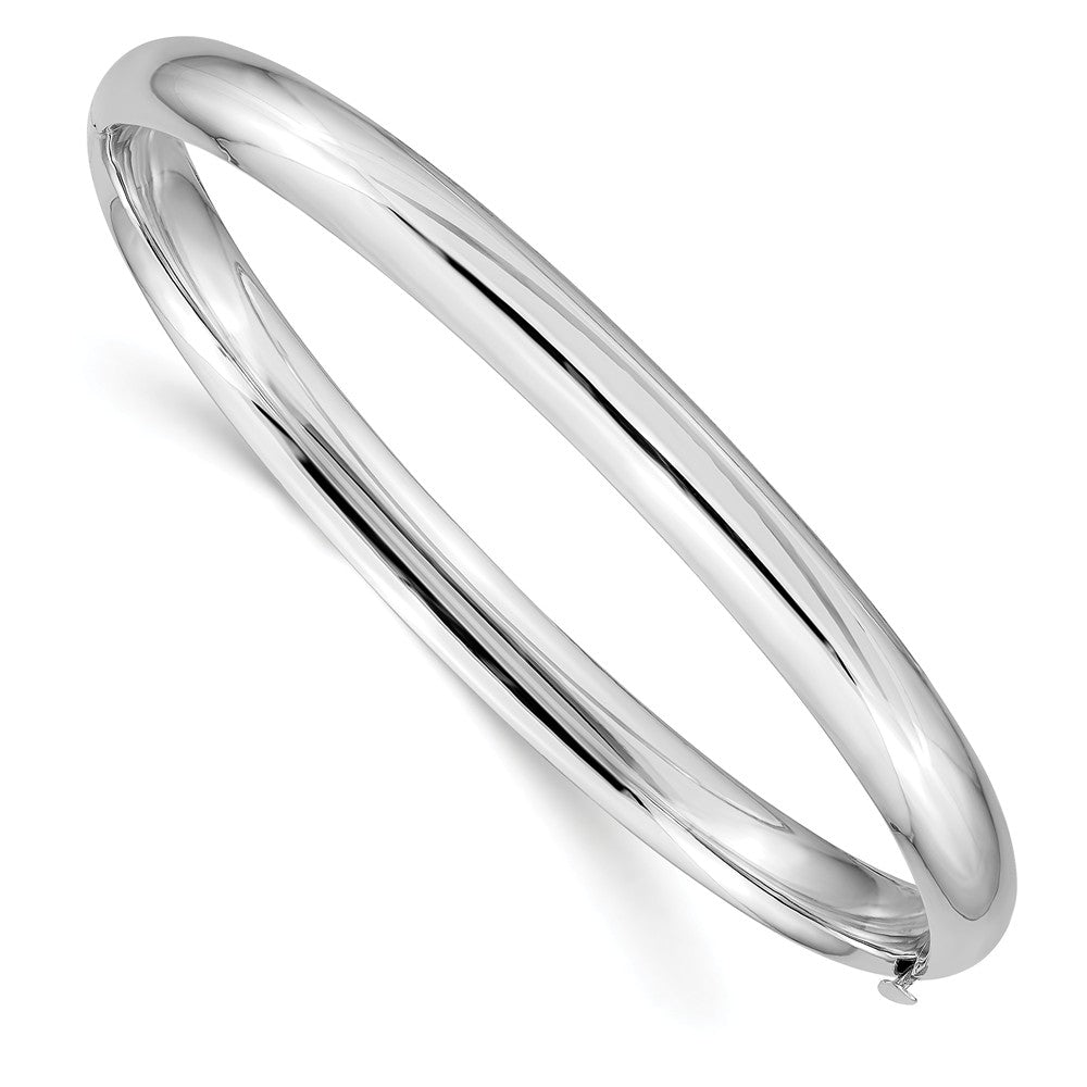 6mm 14k White Gold High Polished Domed Hinged Bangle Bracelet, Item B13637 by The Black Bow Jewelry Co.