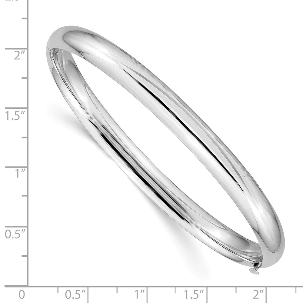 Alternate view of the 6mm 14k White Gold High Polished Domed Hinged Bangle Bracelet by The Black Bow Jewelry Co.