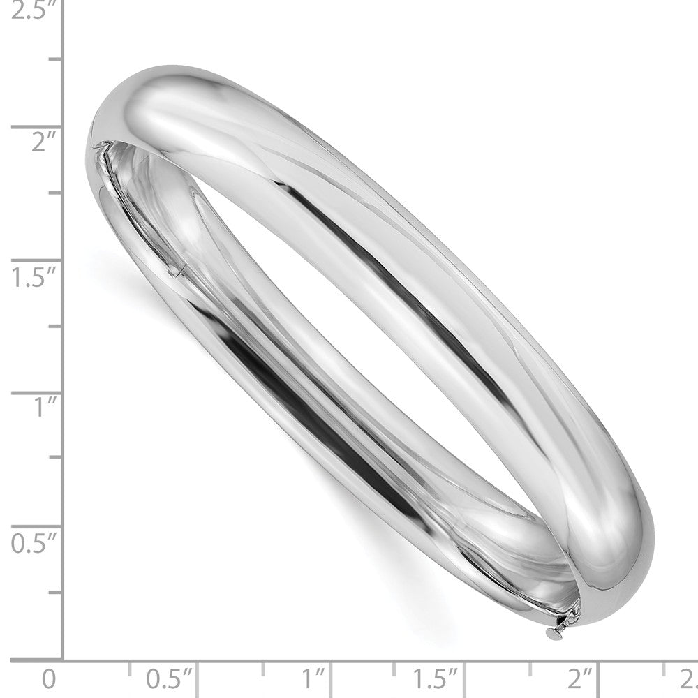 Alternate view of the 10mm 14k White Gold High Polished Domed Hinged Bangle Bracelet by The Black Bow Jewelry Co.