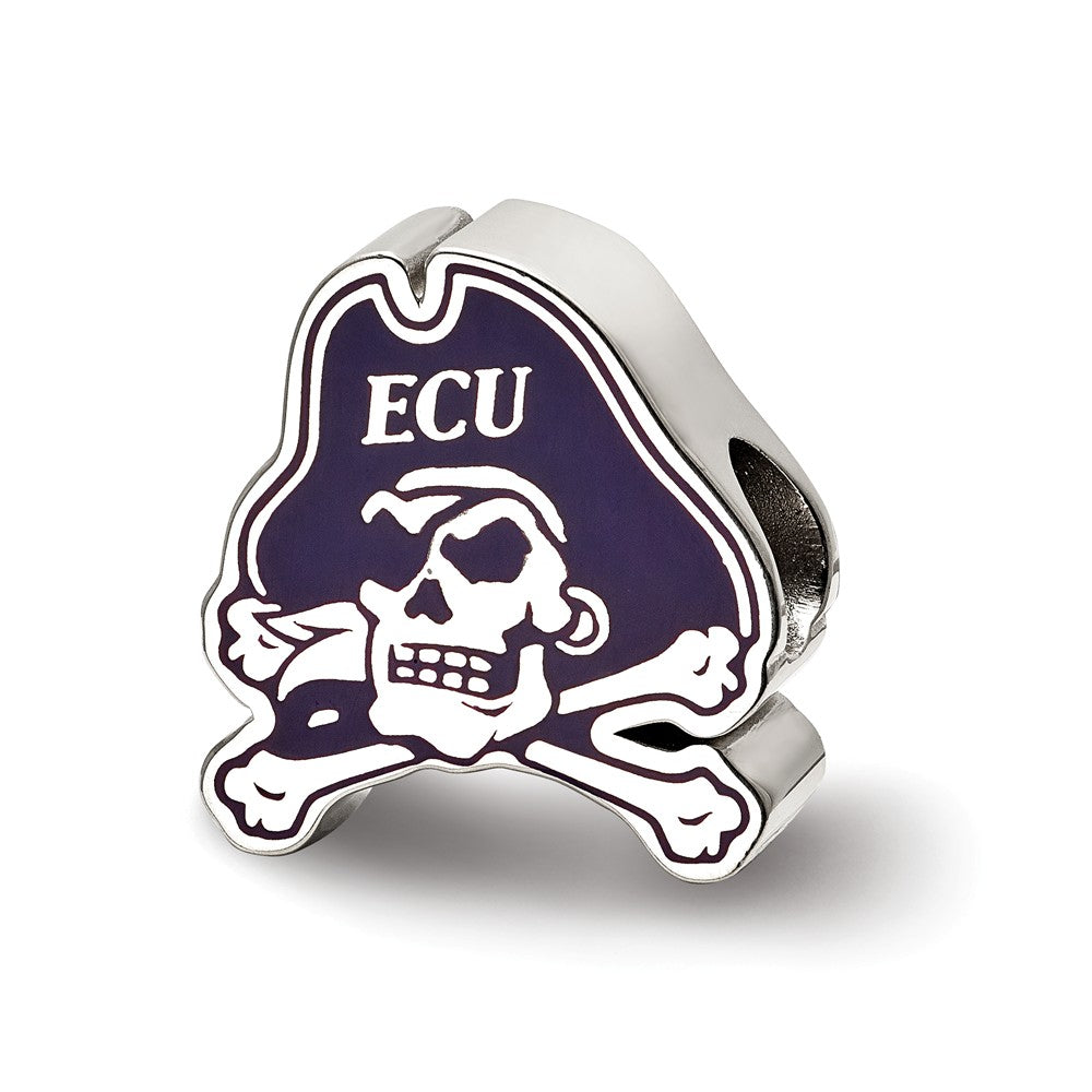 NCAA Sterling Silver East Carolina University Enamel Bead Charm, Item B13644 by The Black Bow Jewelry Co.