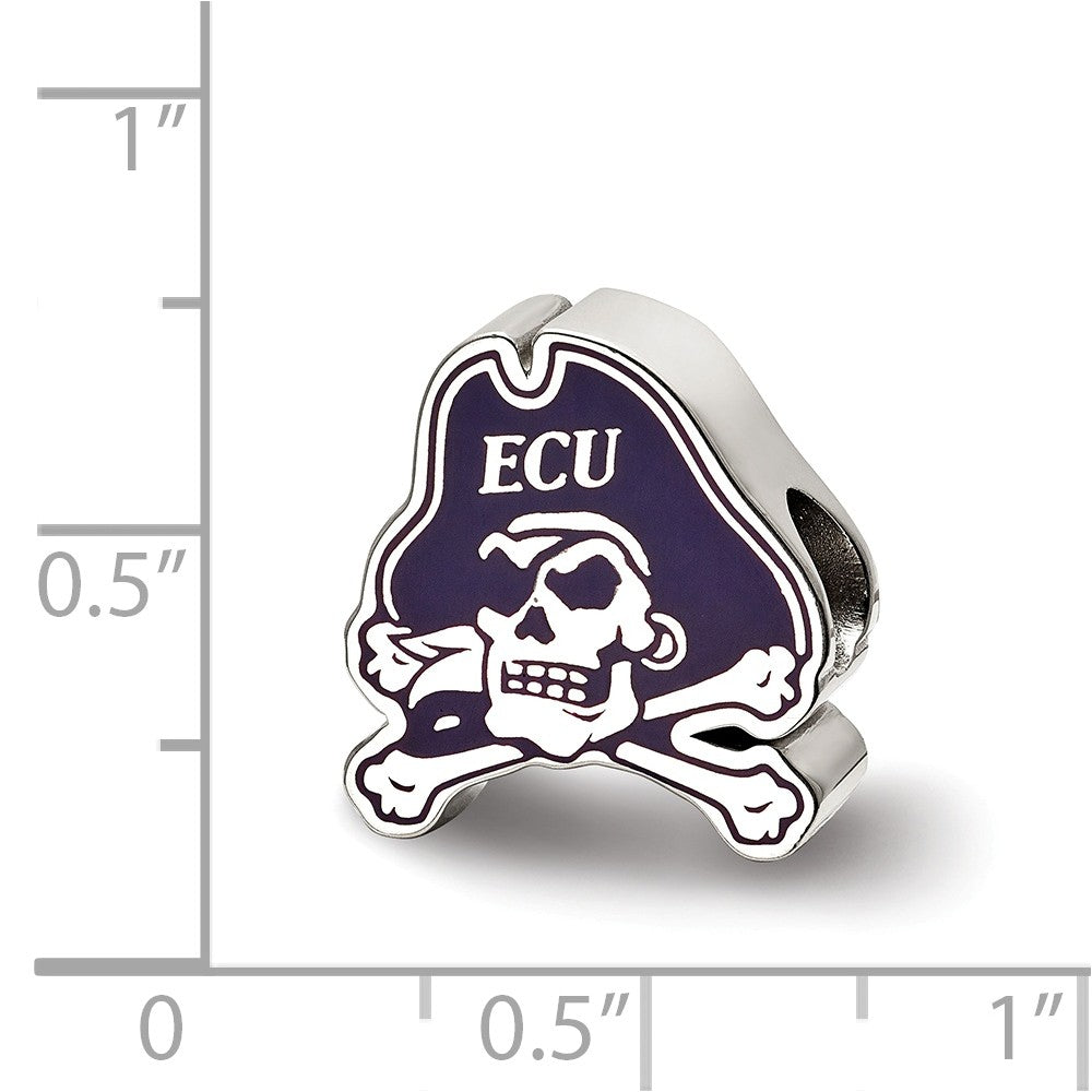 Alternate view of the NCAA Sterling Silver East Carolina University Enamel Bead Charm by The Black Bow Jewelry Co.