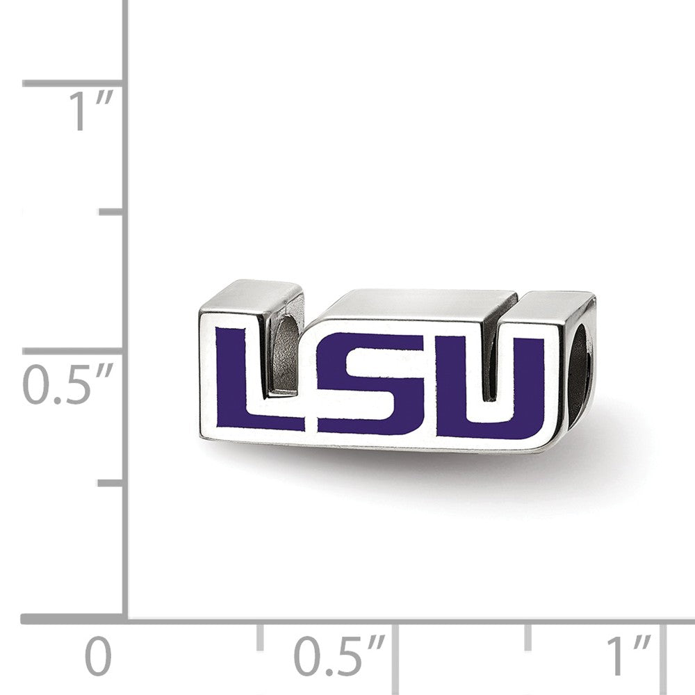 Alternate view of the NCAA Sterling Silver Louisiana State U Enameled Logo Bead Charm by The Black Bow Jewelry Co.