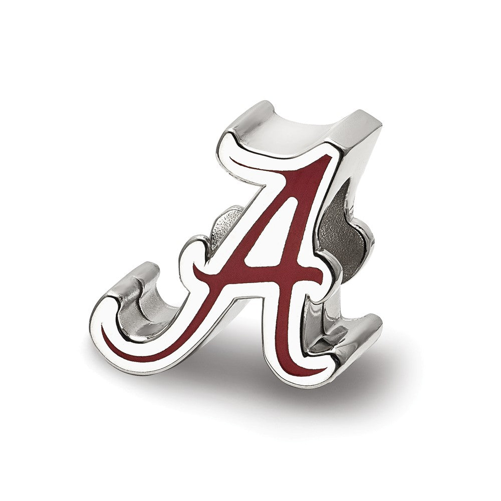 Sterling Silver The U of Alabama Script A Enamel Bead Charm, Item B13657 by The Black Bow Jewelry Co.