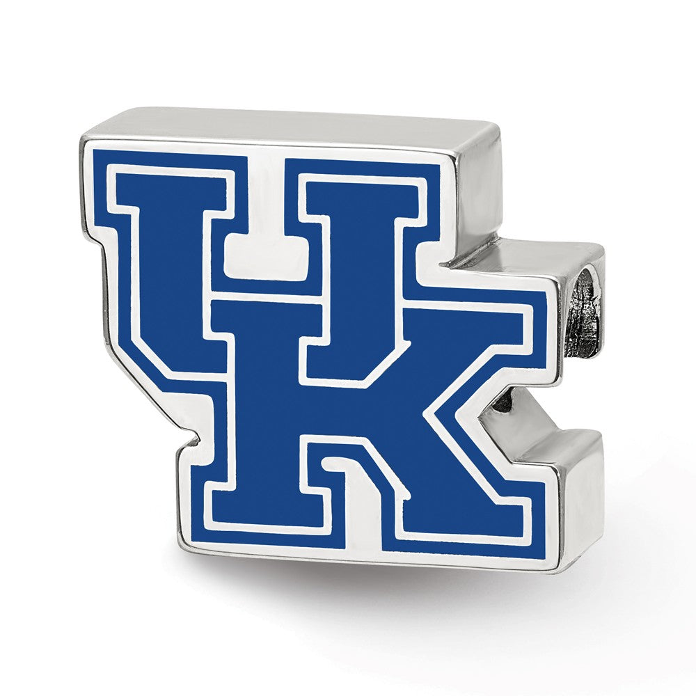 Sterling Silver The University of Kentucky UK Enameled Bead Charm, Item B13663 by The Black Bow Jewelry Co.
