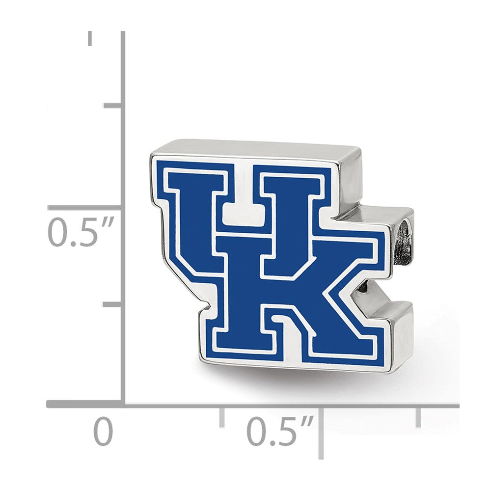 Alternate view of the Sterling Silver The University of Kentucky UK Enameled Bead Charm by The Black Bow Jewelry Co.