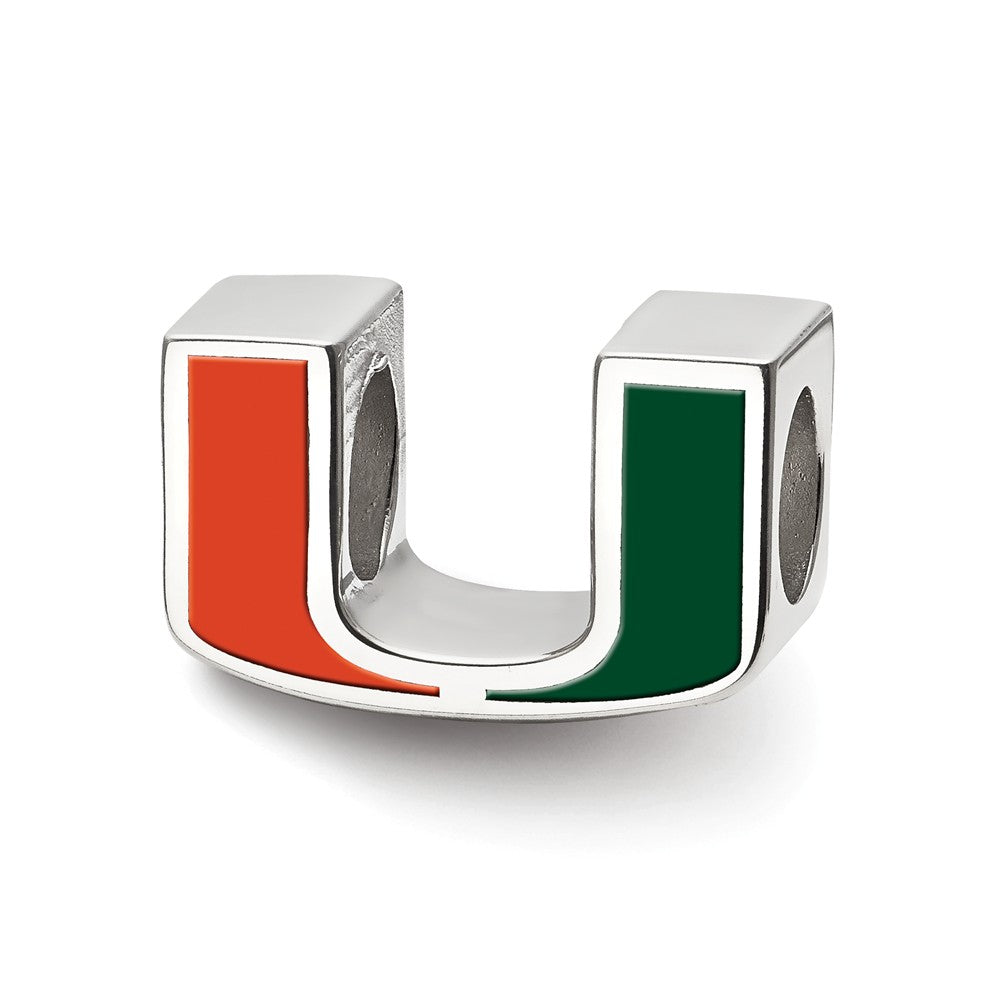 NCAA Sterling Silver University of Miami U Enameled Logo Bead Charm, Item B13666 by The Black Bow Jewelry Co.