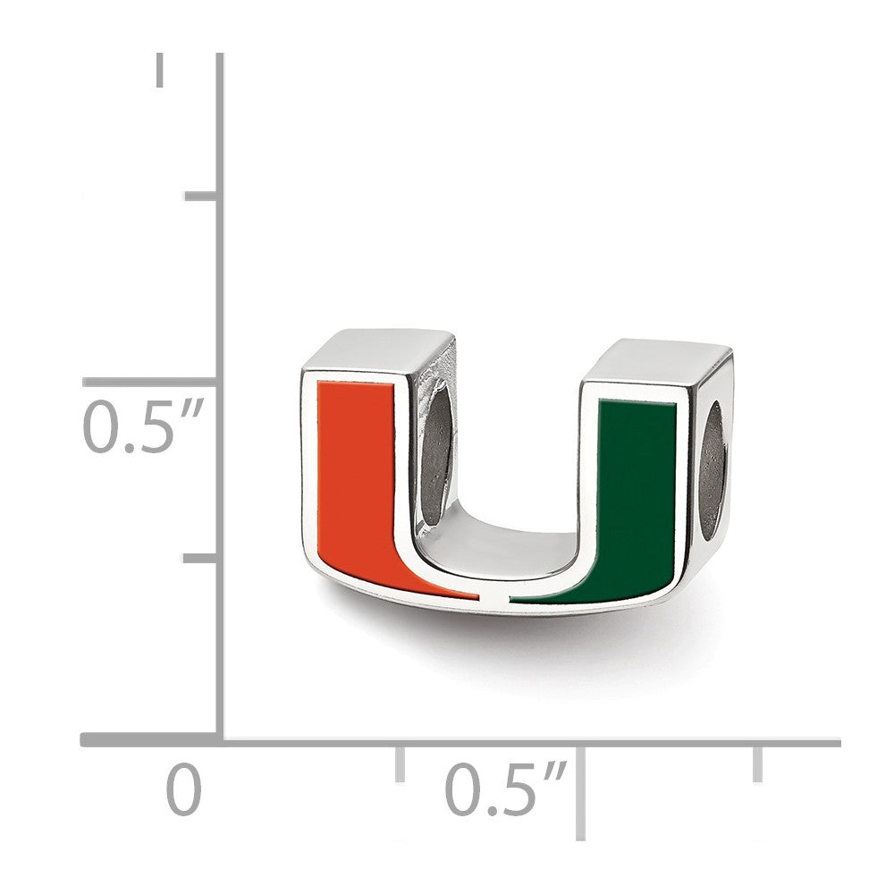 Alternate view of the NCAA Sterling Silver University of Miami U Enameled Logo Bead Charm by The Black Bow Jewelry Co.