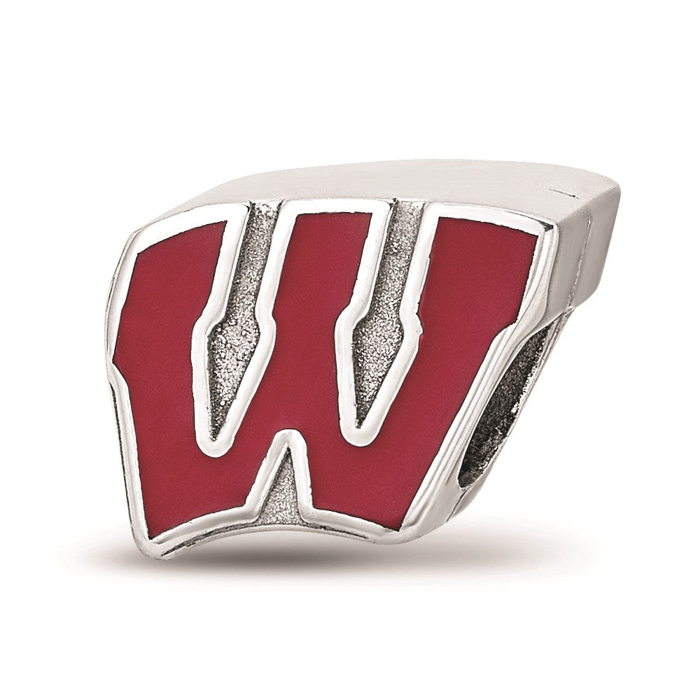 NCAA Sterling Silver University of Wisconsin W Enameled Bead Charm, Item B13673 by The Black Bow Jewelry Co.