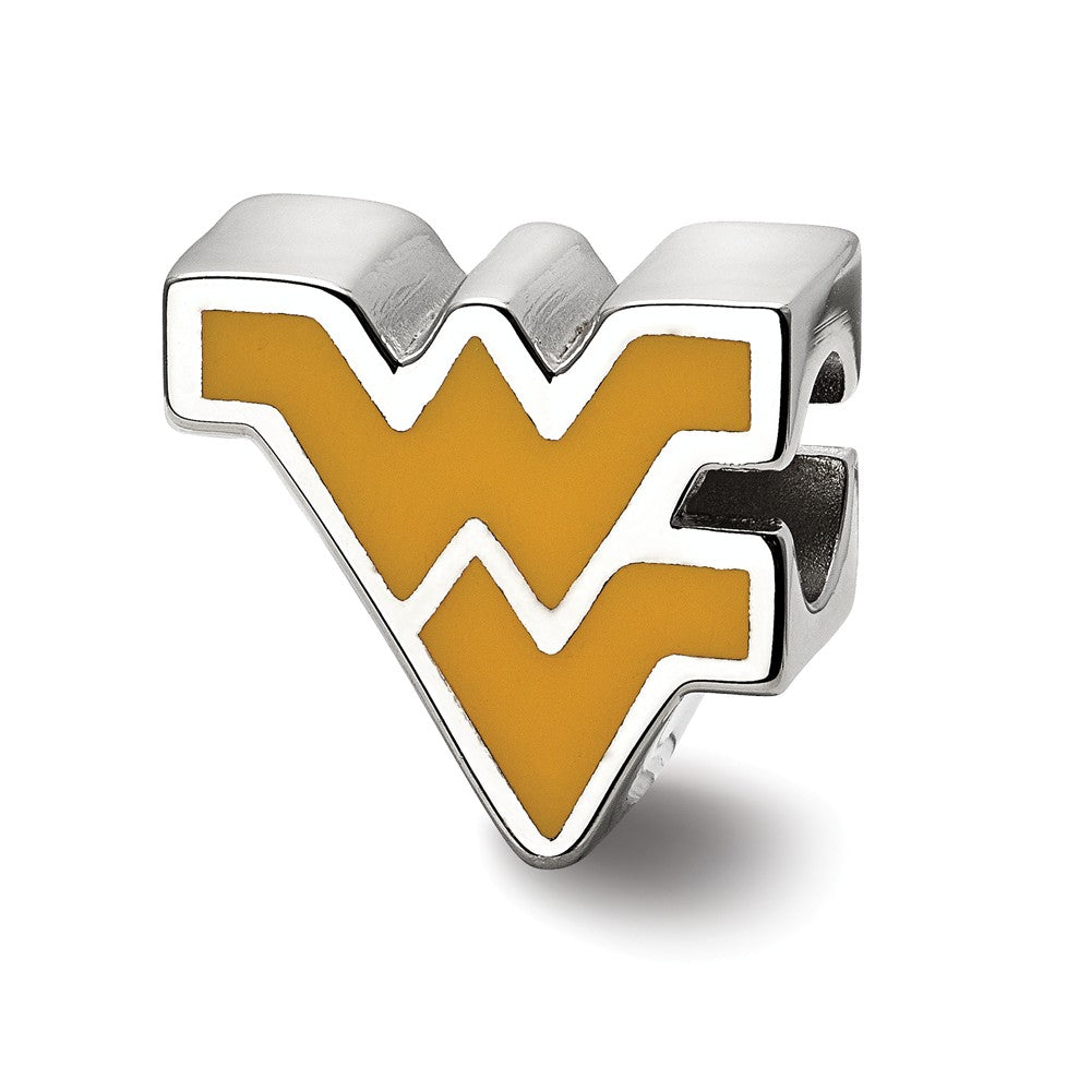 NCAA Sterling Silver West Virginia University WV Enameled Bead Charm, Item B13675 by The Black Bow Jewelry Co.