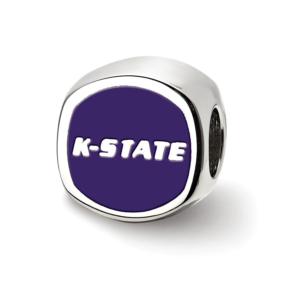 Sterling Silver Kansas State University Cushion Shaped Bead Charm, Item B13682 by The Black Bow Jewelry Co.
