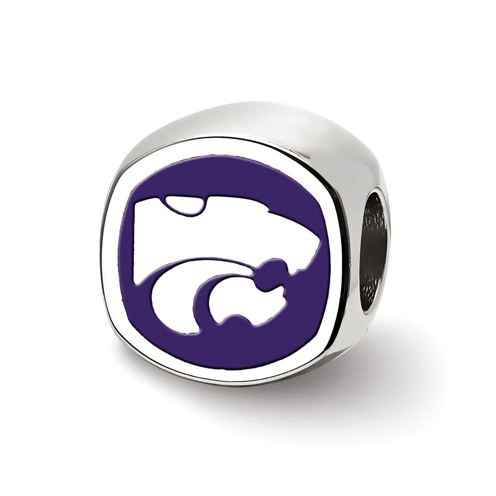 Alternate view of the Sterling Silver Kansas State University Cushion Shaped Bead Charm by The Black Bow Jewelry Co.