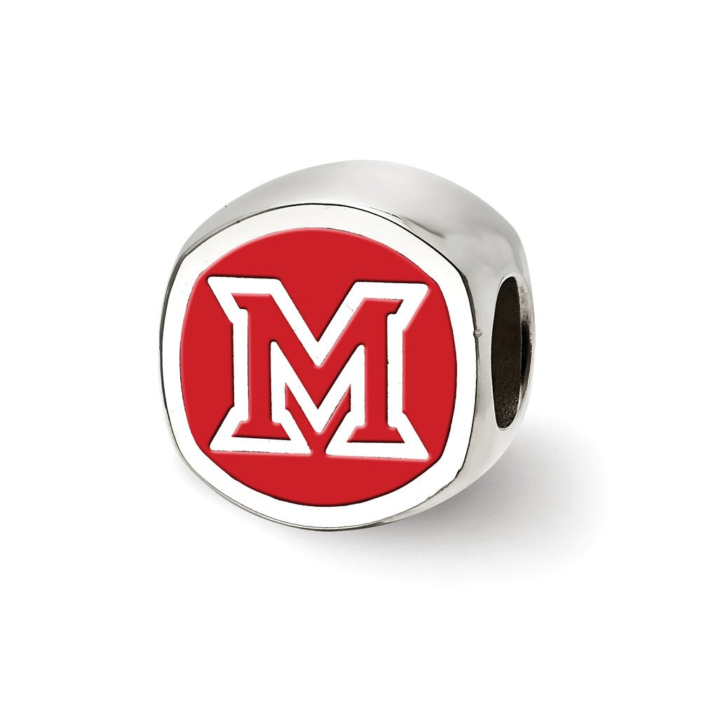 NCAA Sterling Silver Miami U Block M Cushion Shaped Logo Bead Charm, Item B13686 by The Black Bow Jewelry Co.