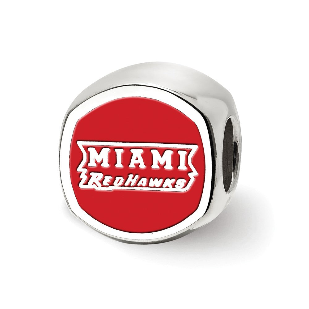 Alternate view of the Sterling Silver Miami U Block M Cushion Shaped Logo Bead Charm by The Black Bow Jewelry Co.
