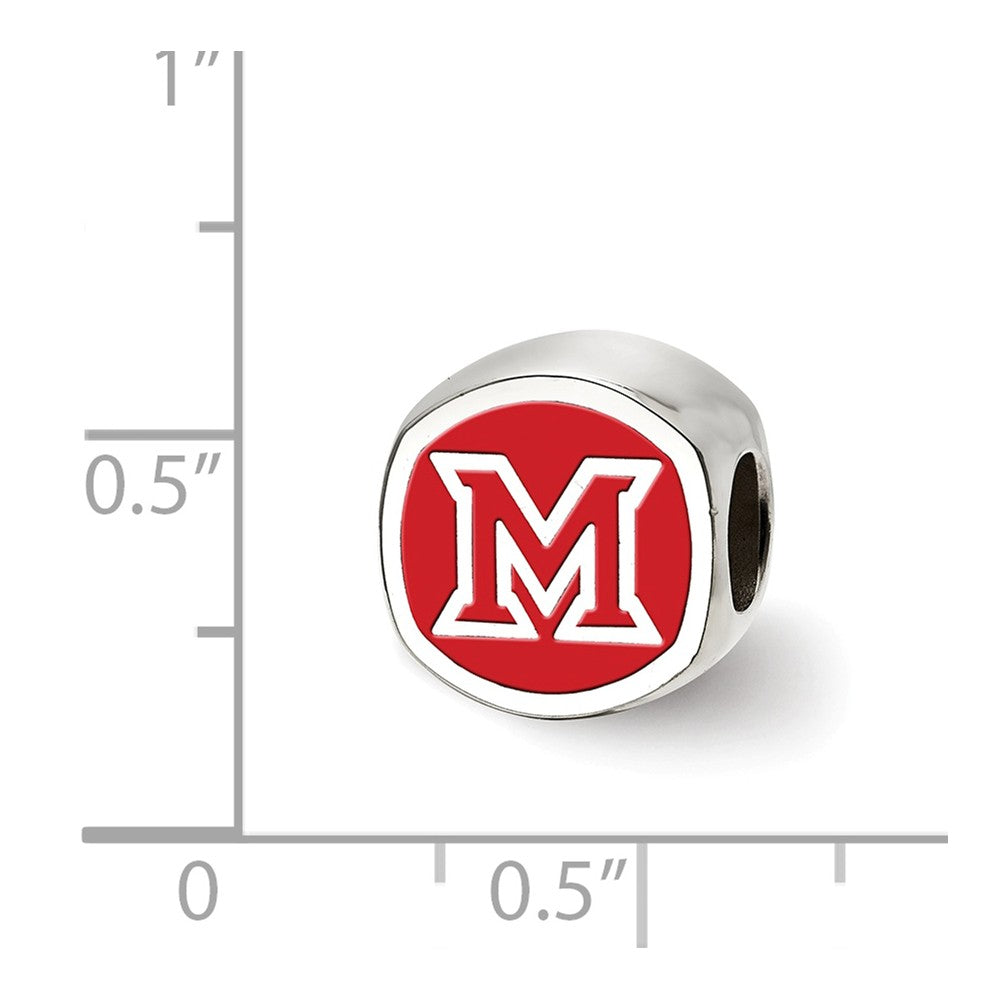 Alternate view of the NCAA Sterling Silver Miami U Block M Cushion Shaped Logo Bead Charm by The Black Bow Jewelry Co.
