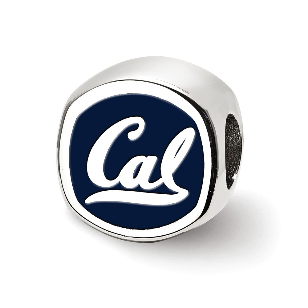 NCAA Sterling Silver U of California Berkeley Cushion Shape Bead Charm, Item B13693 by The Black Bow Jewelry Co.