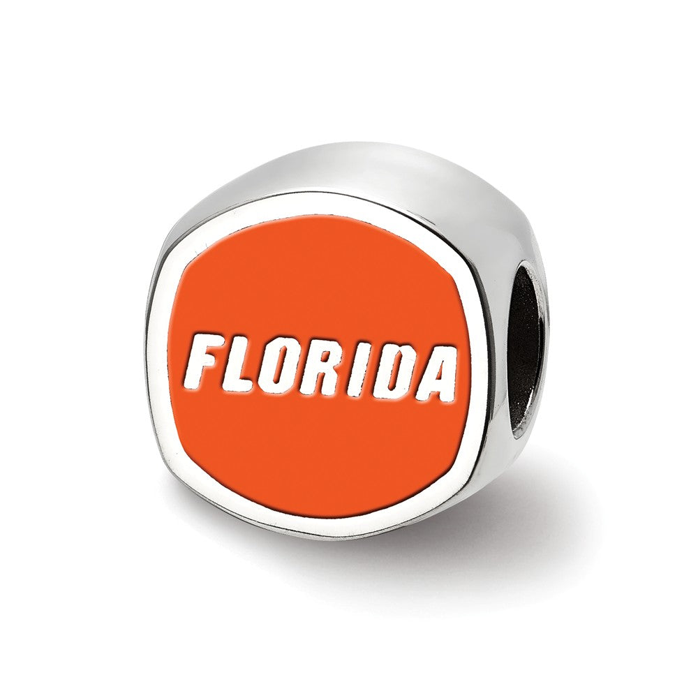 Alternate view of the NCAA Sterling Silver University of Florida Cushion Shaped Bead Charm by The Black Bow Jewelry Co.