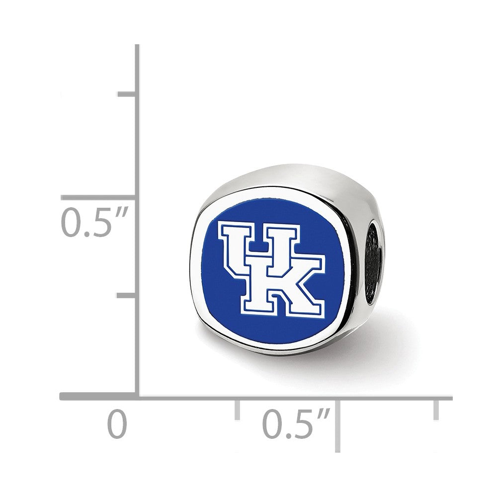 Alternate view of the NCAA Sterling Silver The U of Kentucky UK Cushion Shaped Bead Charm by The Black Bow Jewelry Co.