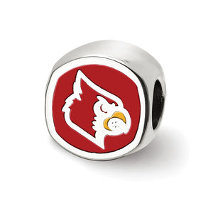 Alternate view of the NCAA Sterling Silver U of Louisville Cushion Shaped Logo Bead Charm by The Black Bow Jewelry Co.