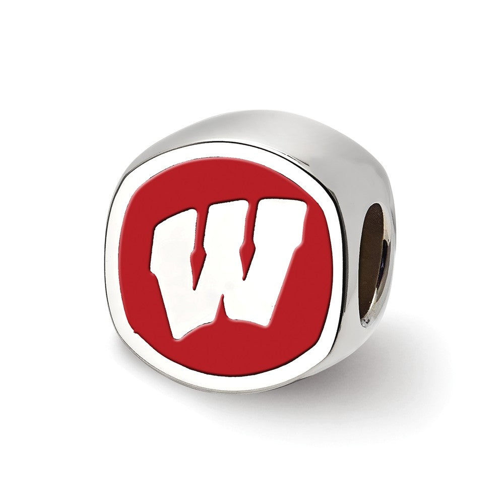 NCAA Sterling Silver University of Wisconsin Cushion Shaped Bead Charm, Item B13704 by The Black Bow Jewelry Co.