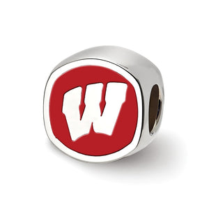 NCAA Sterling Silver University of Wisconsin Cushion Shaped Bead Charm