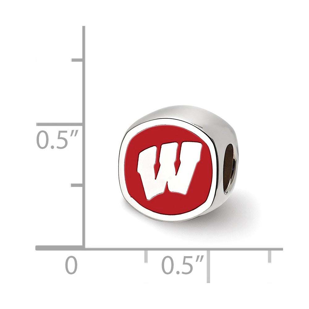 Alternate view of the NCAA Sterling Silver University of Wisconsin Cushion Shaped Bead Charm by The Black Bow Jewelry Co.