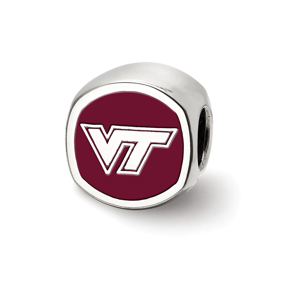 NCAA Sterling Silver Virginia Tech VT Cushion Shaped Logo Bead Charm, Item B13705 by The Black Bow Jewelry Co.