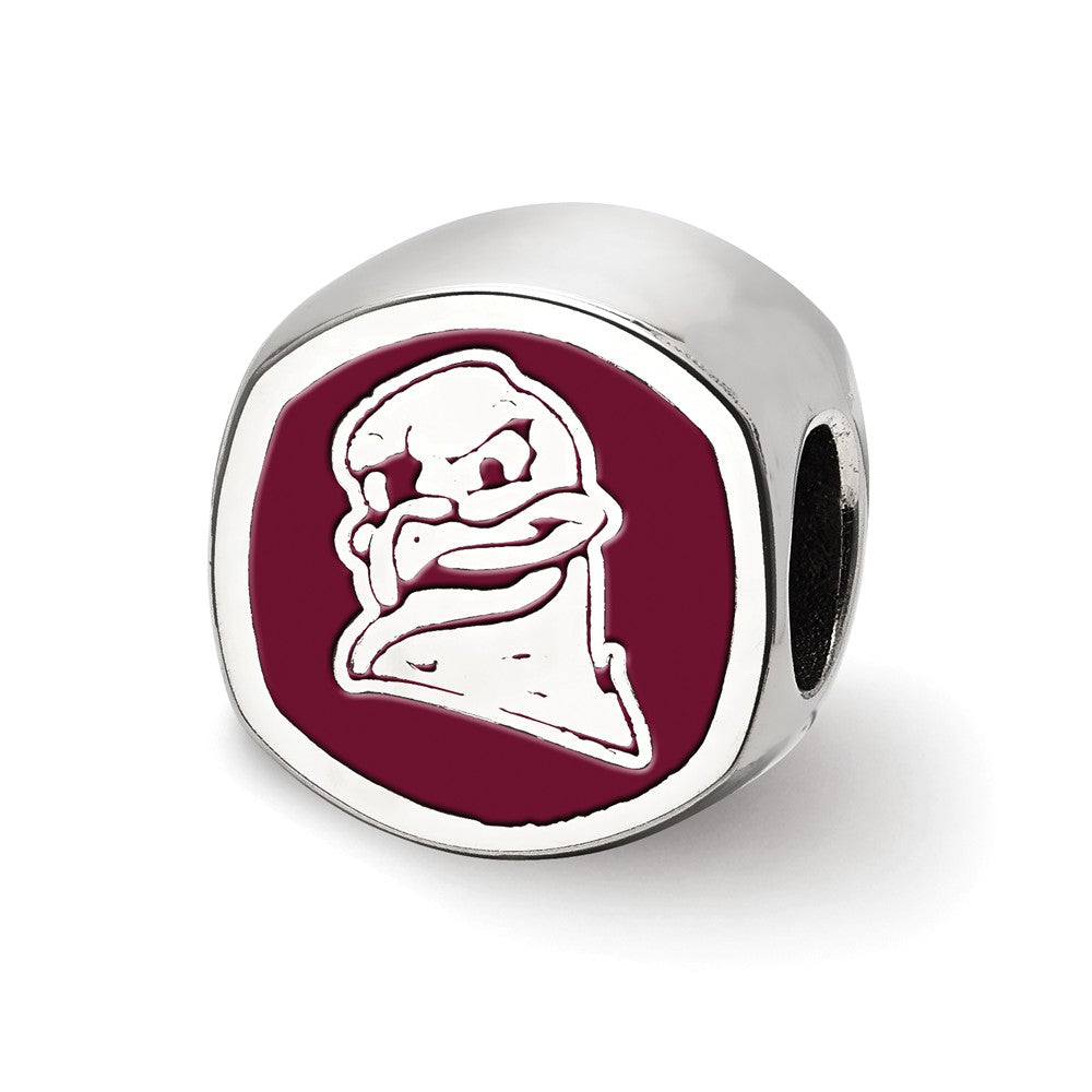 Alternate view of the NCAA Sterling Silver Virginia Tech VT Cushion Shaped Logo Bead Charm by The Black Bow Jewelry Co.
