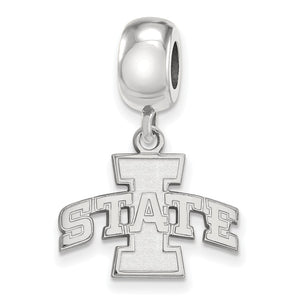 NCAA Sterling Silver Iowa State University 'I State Inch Dangle Charm - The Black Bow Jewelry Co.