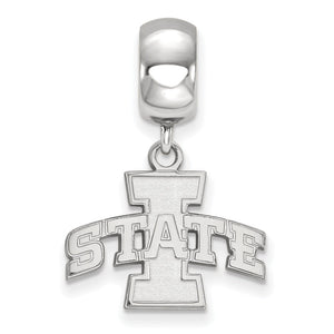 Alternate view of the NCAA Sterling Silver Iowa State University 'I State Inch Dangle Charm by The Black Bow Jewelry Co.