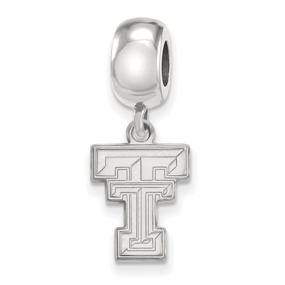 NCAA Sterling Silver Texas Tech University Small Dangle Bead Charm, Item B13891 by The Black Bow Jewelry Co.