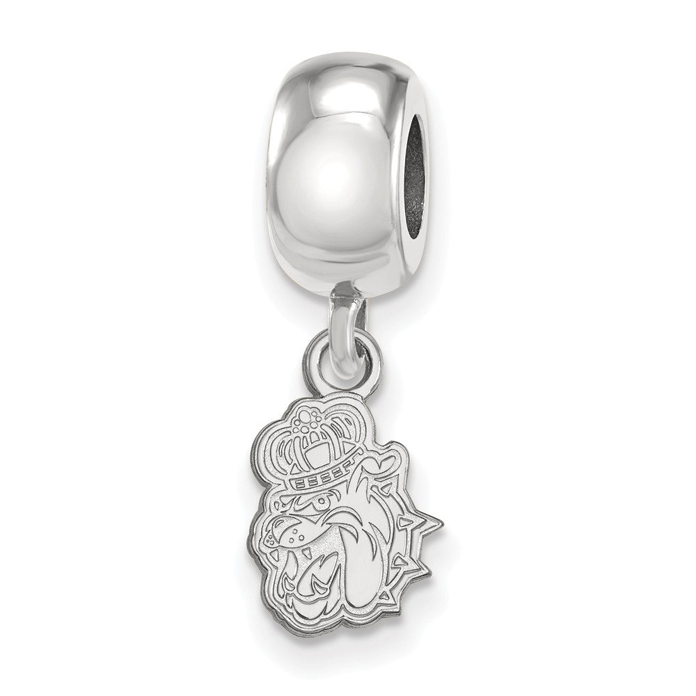 Sterling Silver James Madison University XS Dangle Bead Charm, Item B14070 by The Black Bow Jewelry Co.